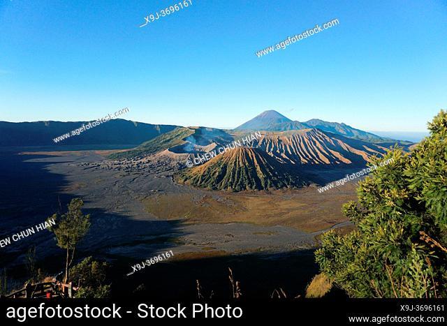 View of Caldera Tengger with volcanoes at sunrise, smoking volcano Gunung Bromo, with Mt. Batok, Mt. Kursi, Mt. Gunung Semeru