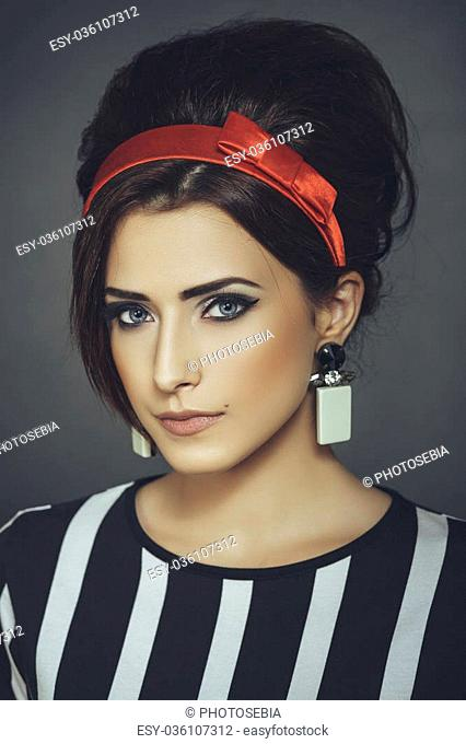 Red Headband And Retro Updo Hairstyle Stock Photos And Images Age