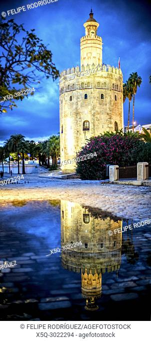 Torre del Oro (Tower of Gold) reflected on a rain puddle. The Tower of Gold is a moorish building from the 12th century