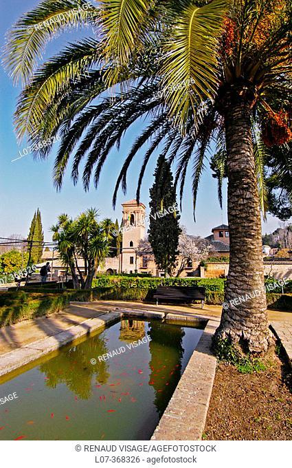 Gardens of the Alhambra. Granada. Andalucia. Spain