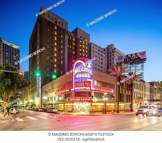 USA, Louisiana, New Orleans . Art Deco Walgreen Company Store in Canal street