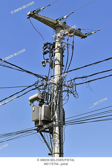 Utility Pole with Overhead Power Lines and a Transformer, Serbia