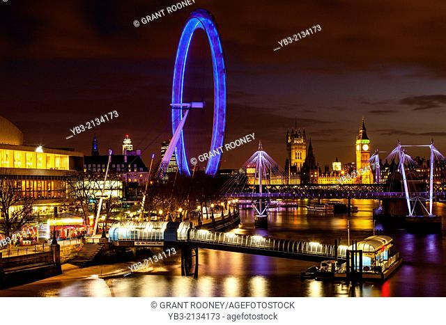 The London Eye, Houses of Parliament and River Thames, London, England
