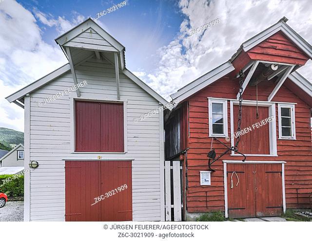 reconstruction of traditional old wooden sheds in Vik, Norway, Sognefjorden, wooden houses rebuilt after burn