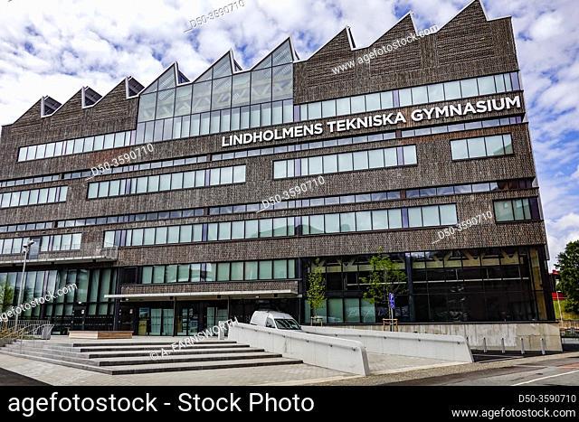 Gothenburg, Sweden The facade of the Lindholmens Tekniska Gymnasium high school in the Lindholmen Science park, a high tech hub
