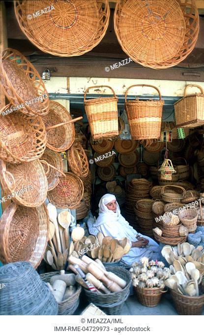 Srinagar, old town - basket shop Kashmir, India, Asia