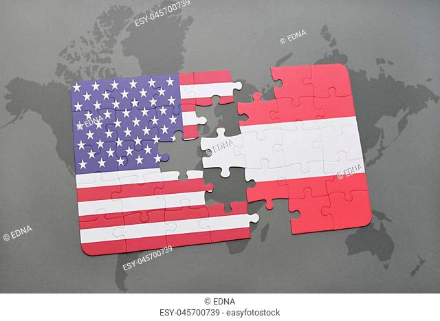 puzzle with the national flag of united states of america and austria on a world map background