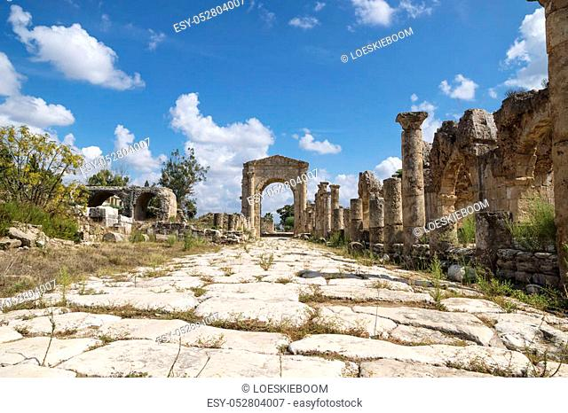 Pillars along byzantine road with triumph arch in Al-Bass ruins of Tyre, Lebanon