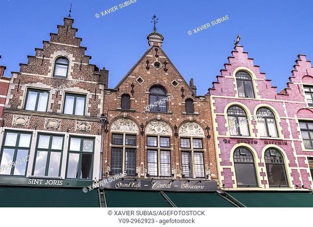 "Houses, Grote Markt """"Big Market Square"""", Bruges, Belgium"