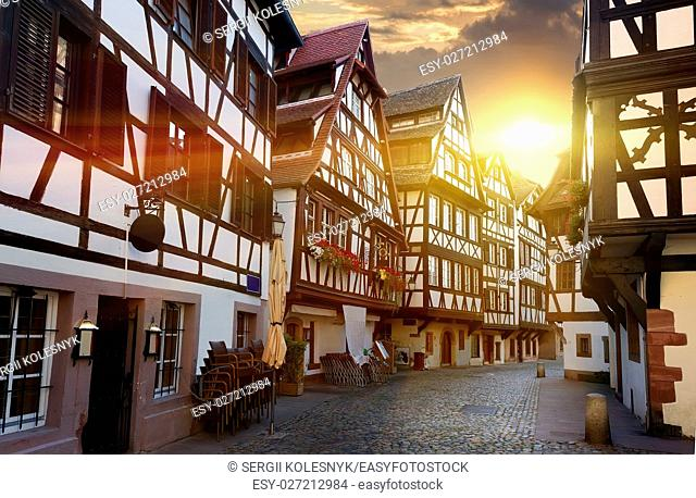 Street with historical half-timbered houses in Petite France district in Strasbourg, France