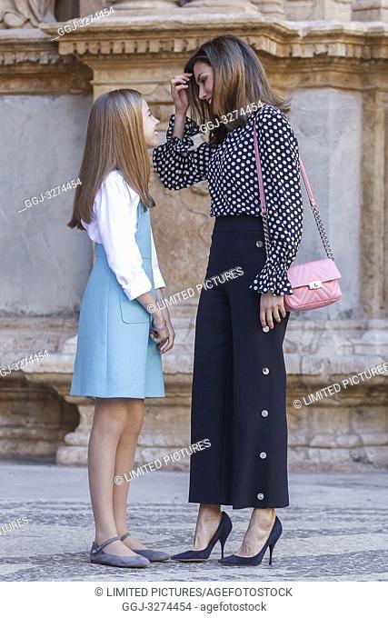 Queen Letizia, Queen Sofia, King Felipe, King Juan Carlos, Princess Sofia and Princess Letizia attend the eastern mass at the Palma de Mallorca cathedral in...