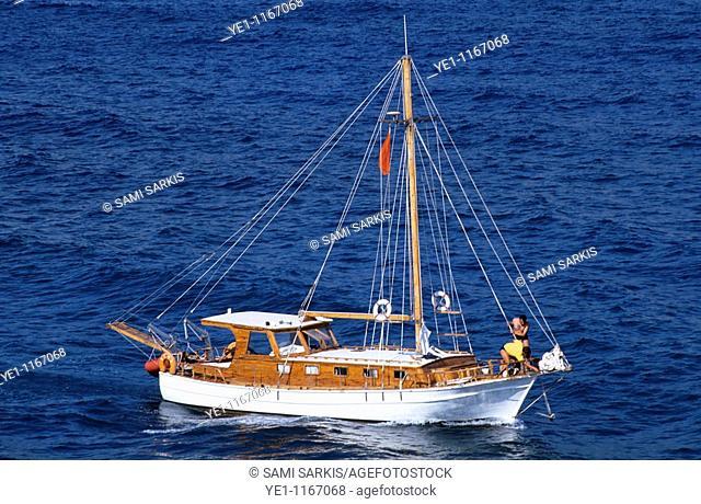 Sailboat navigating the waters near Izmir, Turkey