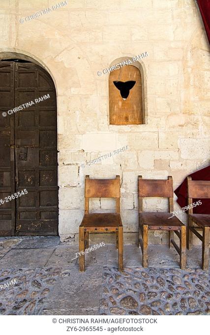 Bellver castle interior details on a sunny summer day in Palma de Mallorca, Balearic islands, Spain