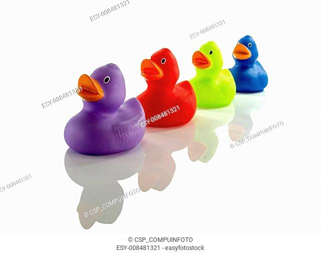 toy rubber ducks isolated on white