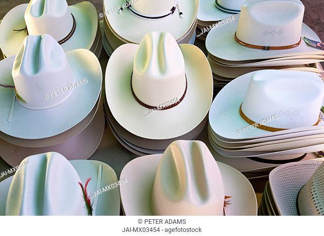 Hats for sale at market, Tlacolula, nr Oaxaca, Oaxaca State, Mexico