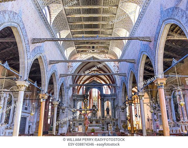 Santa Stefano Church Basilica Venice Italy. Founded in the 1200s, rebuilt in 1300s