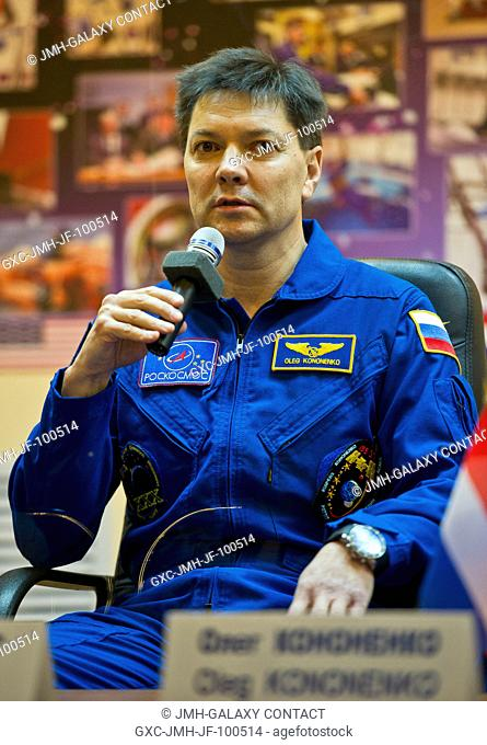 Expedition 30 Soyuz Commander Oleg Kononenko speaks during a press conference held at the Cosmonaut Hotel, Dec. 20, 2011, in Baikonur, Kazakhstan