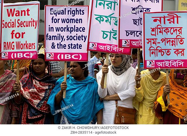 DHAKA, BANGLADESH - MARCH 08 : Bangladeshi activists and garment workers attend a rally in front of National Press Club during International Women's Day in...