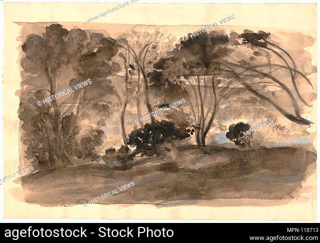 Landscape: Black Trees II. Artist: Arthur B. Davies (American, Utica, New York 1862-1928 Florence); Medium: Black ink wash, gray gouache