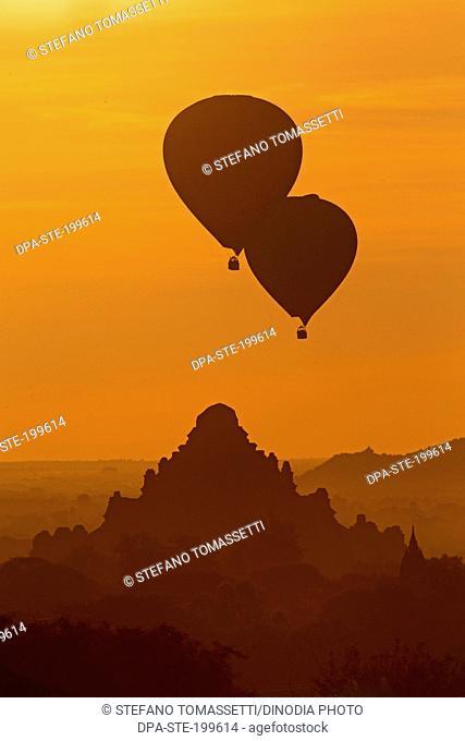 sunrise and hot air balloon, bagan, myanmar, burma