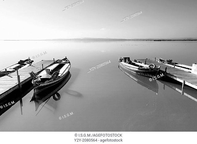 Boats in Albufera Lake, Valencia, Spain
