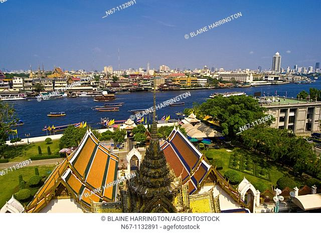 View of the Chao Phraya River from Wat Arun the Temple of Dawn, Bangkok, Thailand