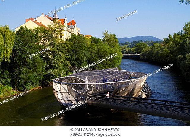 Austria, Styria, Graz, Murinsel on Mur River