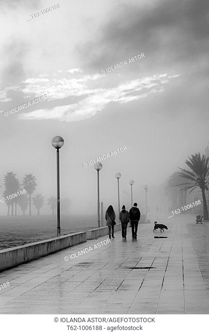 People walking in a fog late