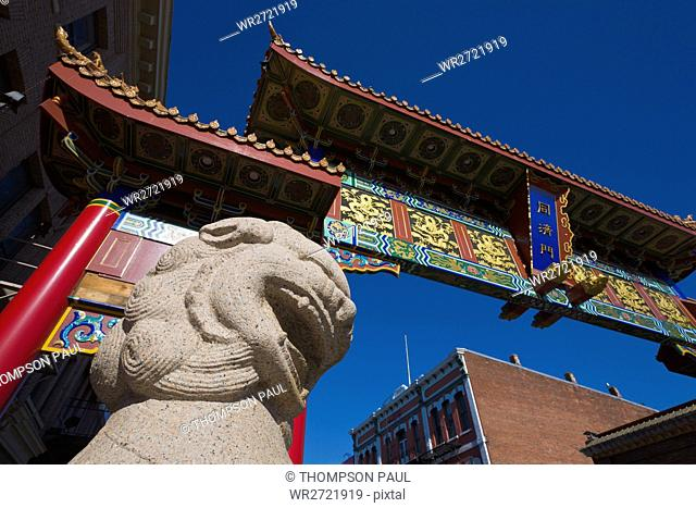 Gate, Harmonious Interest, lion statue, China Town