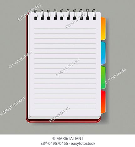 Realistic notebook, vector. A notebook in a ruler, a notebook with a shadow