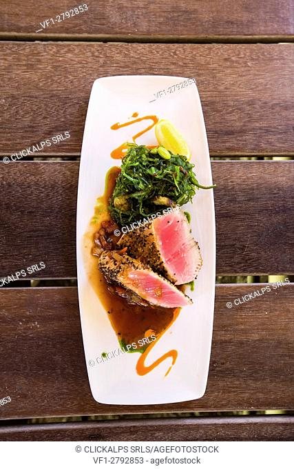 Typical dish with fresh and genuine ingredients Nonsuch Bay Caribbean Antigua and Barbuda Leeward Island West Indies