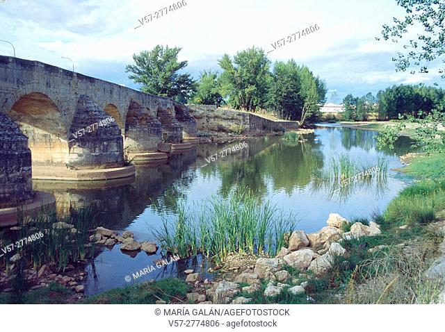 Medieval bridge and river Arlanza. Lerma, Burgos province, Castilla Leon, Spain