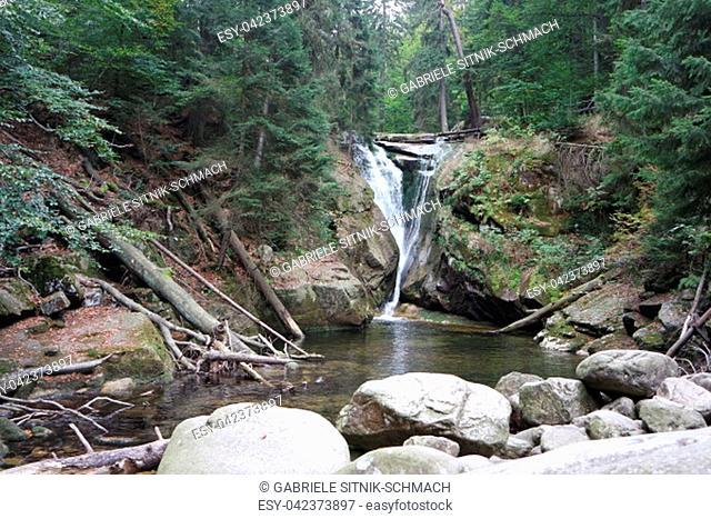 Giant Mountains National Park, Poland. Waterfall Szklarki