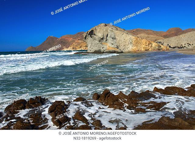 Cabo de Gata, Monsul Beach  Biosphere Reserve, Cabo de Gata-Nijar Natural Park, Almeria, Andalusia, Spain