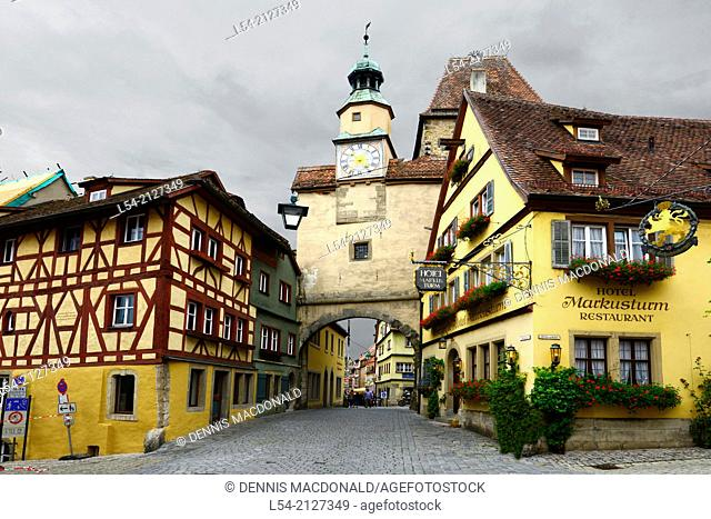 Clock Tower Street Arch Rothenburg Germany DE Franconia Bavaria
