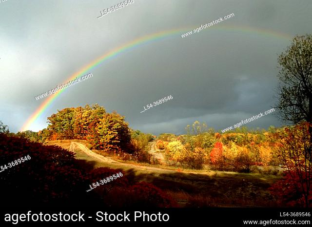 Rainbow during fall colors Michigan