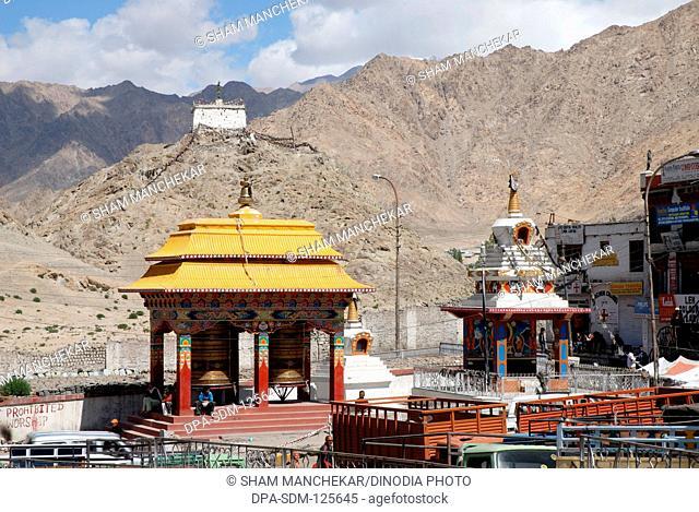 Buddhist prayer wheels temple at Leh city ; Ladakh ; Jammu & Kashmir ; India