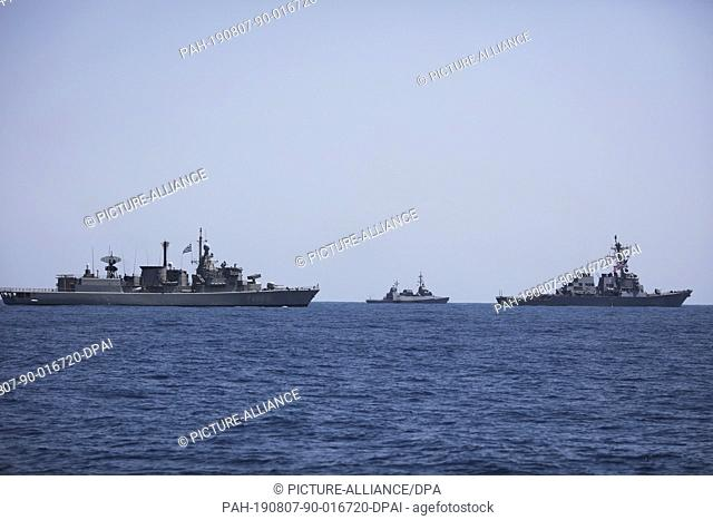 07 August 2019, Israel, Haifa: Military ships sail during a multi military forces drill. Israeli Defence Forces in cooperation with US
