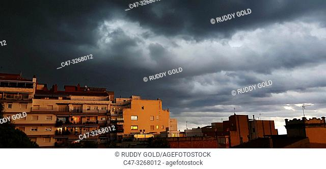 Stormy sky at sunset in El Masnou, Maresme area, Barcelona, Spain