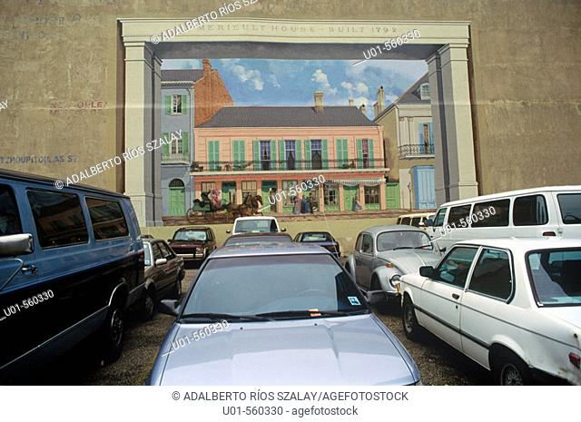 Mural and parking lot in Garden District residential area, New Orleans. Louisiana, USA