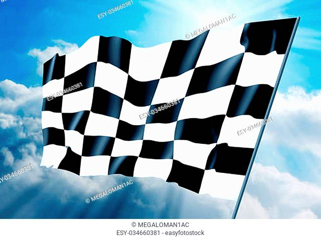 Checkered flag against a background of the sky. Illustration