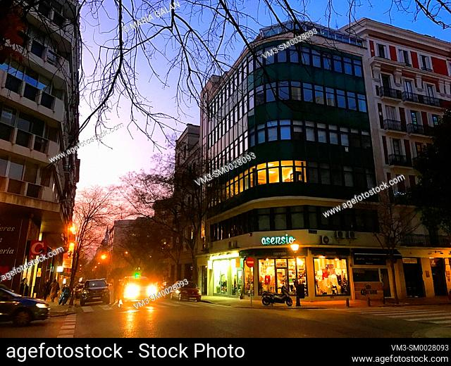 Jorge Juan street, night view. Madrid, Spain