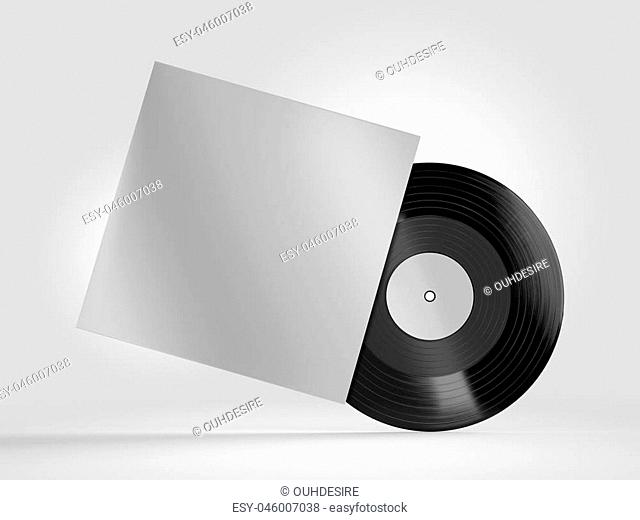 Vinyl record with a case mockup on white background. 3d rendering