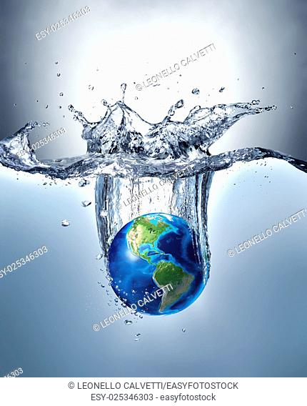Planet Earth, splashing into water, forming a beautiful dramatic splash with gradient background and lighter under water. North and South America view