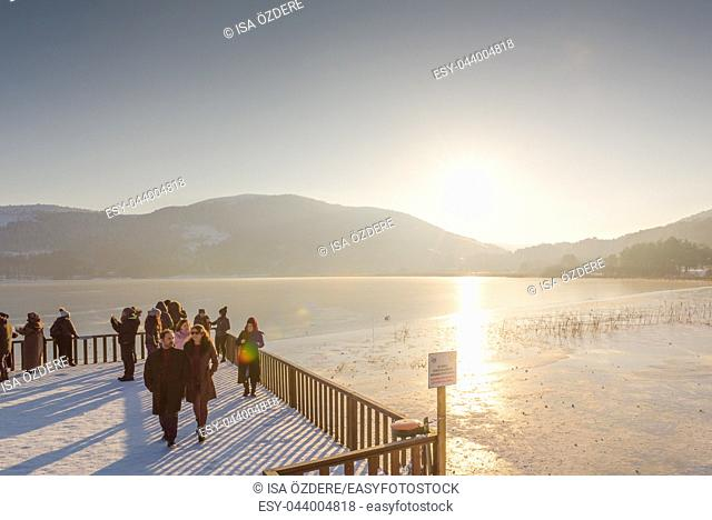 People visit and explore Abant lake in Golcuk National Park in Bolu,Turkey. 27 January 2018