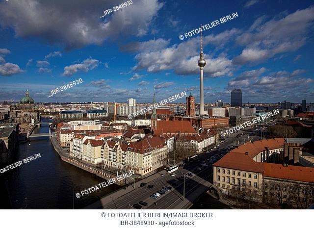 View of Alexanderplatz square and Berlin-Mitte quarter, Berlin, Germany