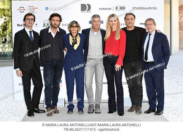 Andrea Giudice, Alessio Boni, the Lawyer Giulia Bongiorno, Giorgio Rastelli, Michelle Hunziker and the director Andrea Costantini during Doppia Difesa photocall...