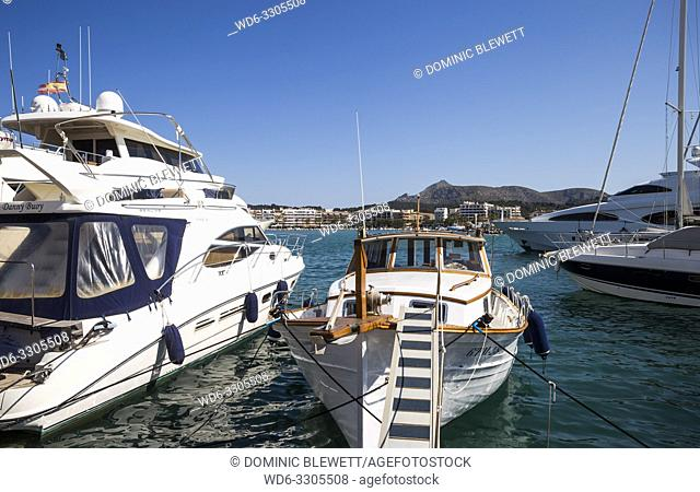 Boats and yachts in the harbour in Port d'Alcudia, Mallorca, Spain