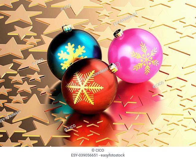 3D rendering of Christmas balls on golden stars background