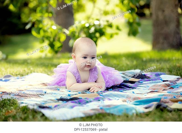 A baby girl in a purple dress laying on a blanket in a park during a warm autumn afternoon; Edmonton, Alberta, Canada